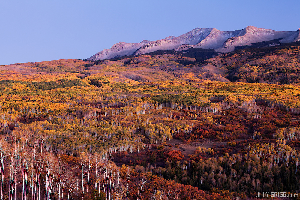 Dusk falls on the Beckwith Mountains just off Kebler Pass, Gunnison National Forest, Colorado.