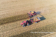 63801-12315 Harvesting corn and unloading into grain cart in fall-aerial  Marion Co. IL