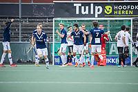 AMSTELVEEN - Morris de Vilder (Pinoke) heeft gescoord maar zijn doelpunt wordt afgekeurd    tijdens   hoofdklasse hockeywedstrijd mannen,  AMSTERDAM-PINOKE (1-3) , die vanwege het heersende coronavirus zonder toeschouwers werd gespeeld.  . COPYRIGHT KOEN SUYK
