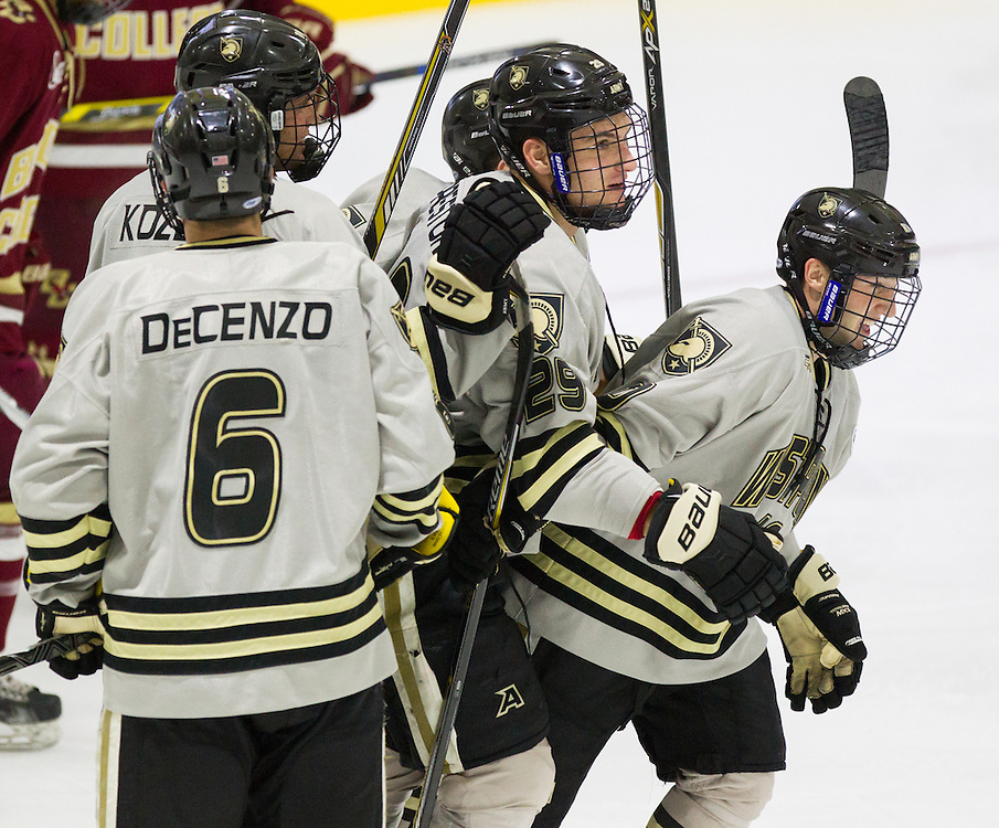 Army Forward Trevor Fidler (10) celebrates after scoring a goal during the third period of a NCAA hockey game between Army and Boston College at Tate Rink on October 9, 2015 in West Point, New York. (Dustin Satloff)