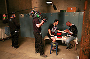 Film crew and production area. Still photography of Mark Burnett Productions February 2009 filming of the Mixed Martial Arts reality fight show, Bully Beat Down, with MMA fighter and host, Jason Mayhem Miller. The show airs on MTV. Photos by Colin Braley