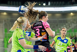 Marie Prudhomme of Metz during handball match between RK Krim Mercator (SLO) and  Metz Handball (FRA) in 4th Round of Women's Champions League on November 2, 2013 in Arena Stozice, Ljubljana, Slovenia. (Photo by Vid Ponikvar / Sportida)