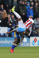 Stoke City forward Benik Afobe (9) on loan from Wolverhampton Wanderers and 28 Josh Laurent for Shrewsbury Town during the The FA Cup 3rd round match between Shrewsbury Town and Stoke City at Greenhous Meadow, Shrewsbury, England on 5 January 2019.
