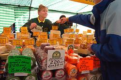 Cheese stall Skipton market Yorkshire UK