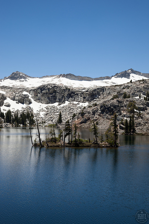 """""""Heather Lake 2"""" - Photograph of a small island in Heather Lake along the Pacific Crest Trail in the Tahoe Desolation Wilderness."""