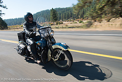 Matt McManus riding his 1936 Harley-Davidson Knucklehead during Stage 14 - (284 miles) of the Motorcycle Cannonball Cross-Country Endurance Run, which on this day ran from Meridian to Lewiston, Idaho, USA. Friday, September 19, 2014.  Photography ©2014 Michael Lichter.