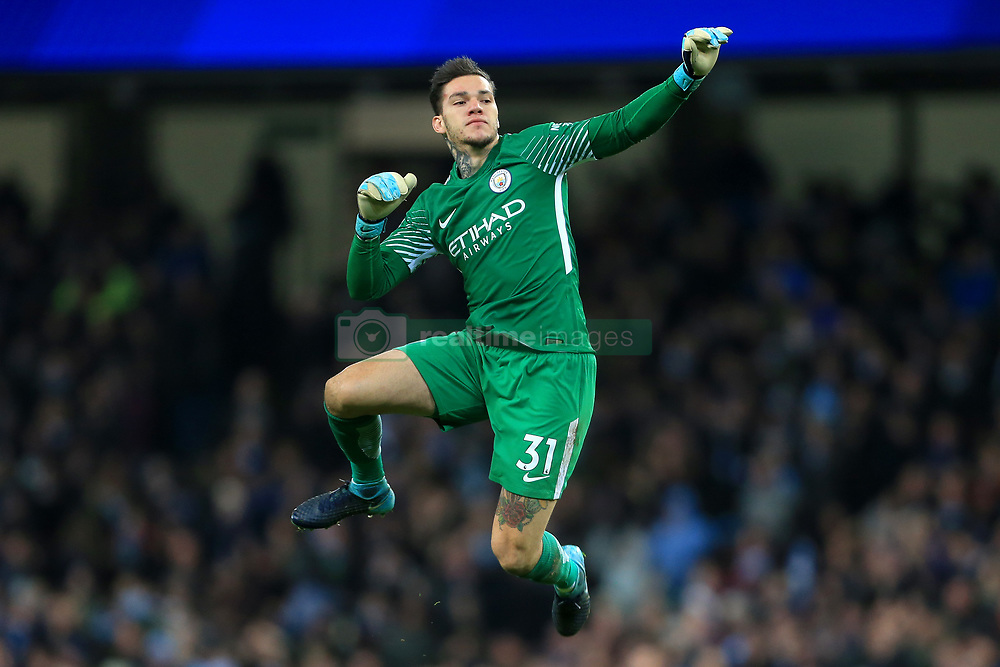 3rd December 2017 - Premier League - Manchester City v West Ham United - Man City goalkeeper Ederson celebrates their 1st goal - Photo: Simon Stacpoole / Offside.