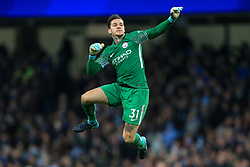 3rd December 2017 - Premier League - Manchester City v West Ham United - Man City goalkeeper Ederson celebrates their 1st goal - Photo: Simon Stacpoole / Offside.