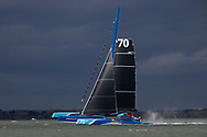 6th April 2021. Hamble. Hampshire . UK. The 'Powerplay' MOD70 racing team skippered by Peter Cunningham and Ned Collier, shown here as they started their world record attempt on the 'Classic Fastnet' route. Leaving from Cowes, rounding the Fastnet Rock in Southern Ireland and crossing the finish line in Plymouth Sound. UK.<br /> Credit - Lloyd Images