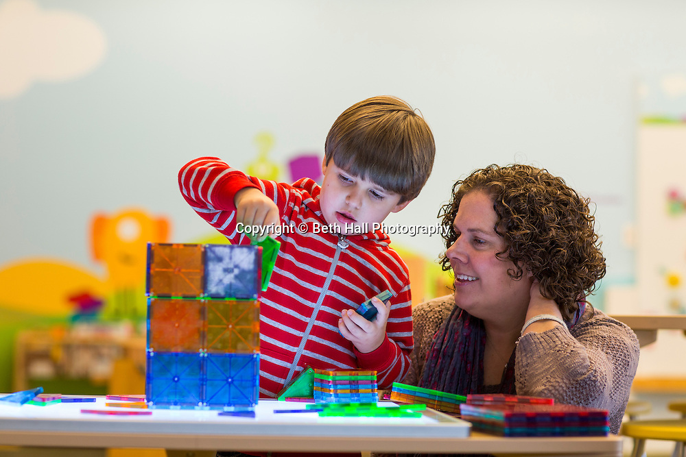 Jennifer and Dayton Mullen play in the children's area at Crystal Bridges Museum of American Art on Friday, January 16, 2015, in Bentonville, Ark. Photo by Beth Hall