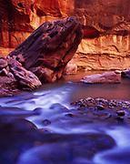 North Fork Virgin River flowing through Zion Narrows, Zion National Park, Utah.