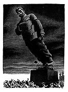 (Collapse of the Stalin Colossus - the statue is about to fall heavily on the people below)