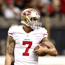 November 25, 2012; New Orleans, LA, USA; San Francisco 49ers quarterback Colin Kaepernick (7) against the New Orleans Saints prior to a game at the Mercedes-Benz Superdome. The 49ers defeated the Saints 31-21. Mandatory Credit: Derick E. Hingle-US PRESSWIRE