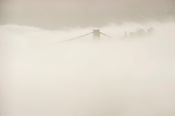 © Licensed to London News Pictures; 22/11/2020; Bristol, UK. The Clifton Suspension Bridge over the Avon Gorge is seen with mist during the Covid-19 lockdown in England during the coronavirus pandemic as the UK Government tries to stop the spread of the covid-19 coronavirus pandemic. Bristol now has one of the highest rates of Covid-19 infection in the country. Photo credit: Simon Chapman/LNP.