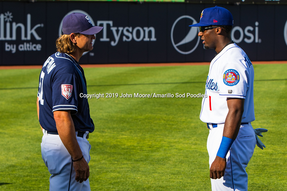 Trevor Hoffman meets Amarillo Sod Poodles outfielder Taylor Trammell (7) before the Sod Poodles game against the Frisco RoughRiders on Thursday, Aug. 1, 2019, at HODGETOWN in Amarillo, Texas. [Photo by John Moore/Amarillo Sod Poodles]