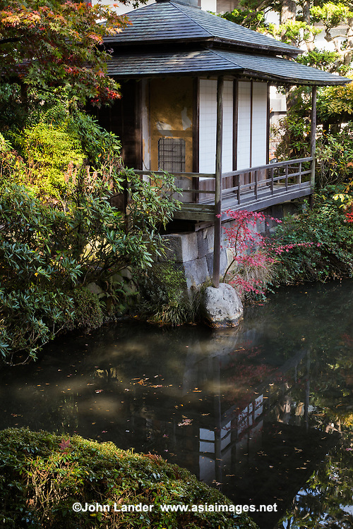 Shoyo-en Teahouse - Traditional Japanese architecture is designed around specific purposes. The chashitsu literally tea room is one special type of architecture, usually very small and made of natural materials:  wood, plaster, reed tatami floors, and shoji paper windows.  The special architectural style that developed for chashitsu is called sukiya style or specifically sukiya zukuri.  It has come to indicate a style of designing public facilities and private homes based on tea house aesthetics.  Features of chashitsu typically include a tokonoma alcove; subdued colors, and the size is ideally 4.5 tatami mats.