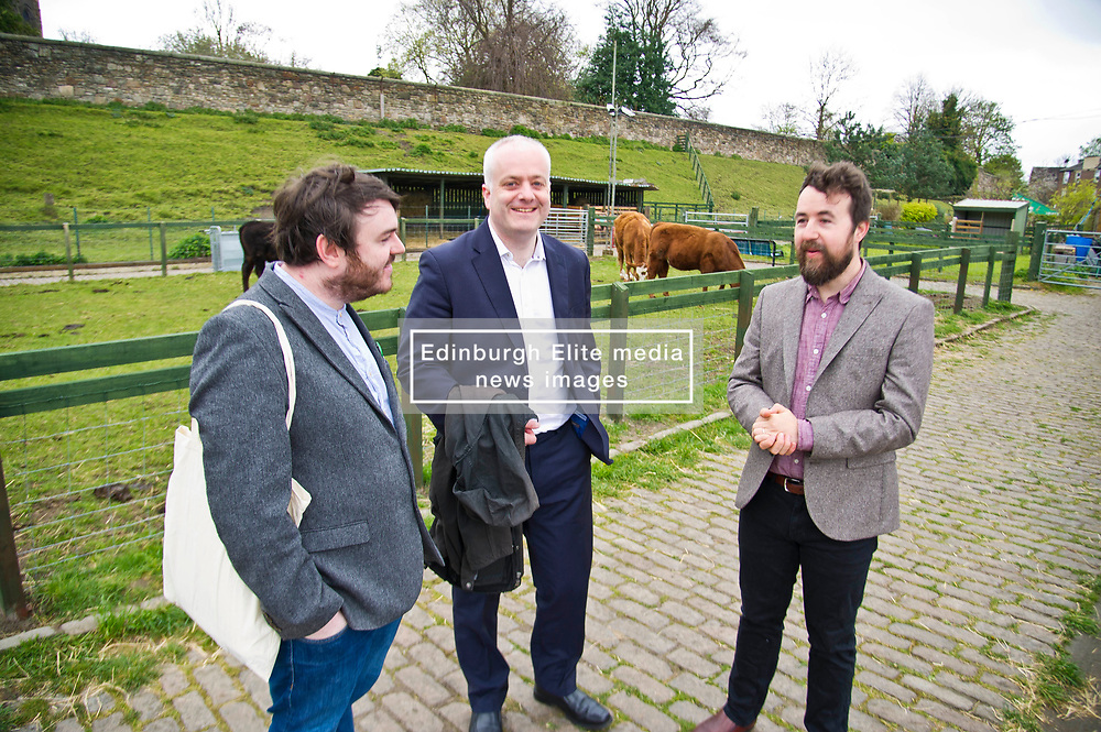 Pictured: Chief Executive of Gorgie City Farm Josiah Lockhart, Mark Ruskell and local candidate Dan Heap.<br /> Scottish Greens on local election campaign trail. Mark Ruskell MSP, the party's environment spokesperson, joined candidate for the Sighthill/Gorgie ward Dan Heap on a visit to Gorgie city farm. The pair met Chief executive of the farm, Josiah Lockhart and Develoopment and fundraising manager, Sarah Campbell during their tour.<br /> <br /> <br /> Ger Harley   EEm 19 April 2017