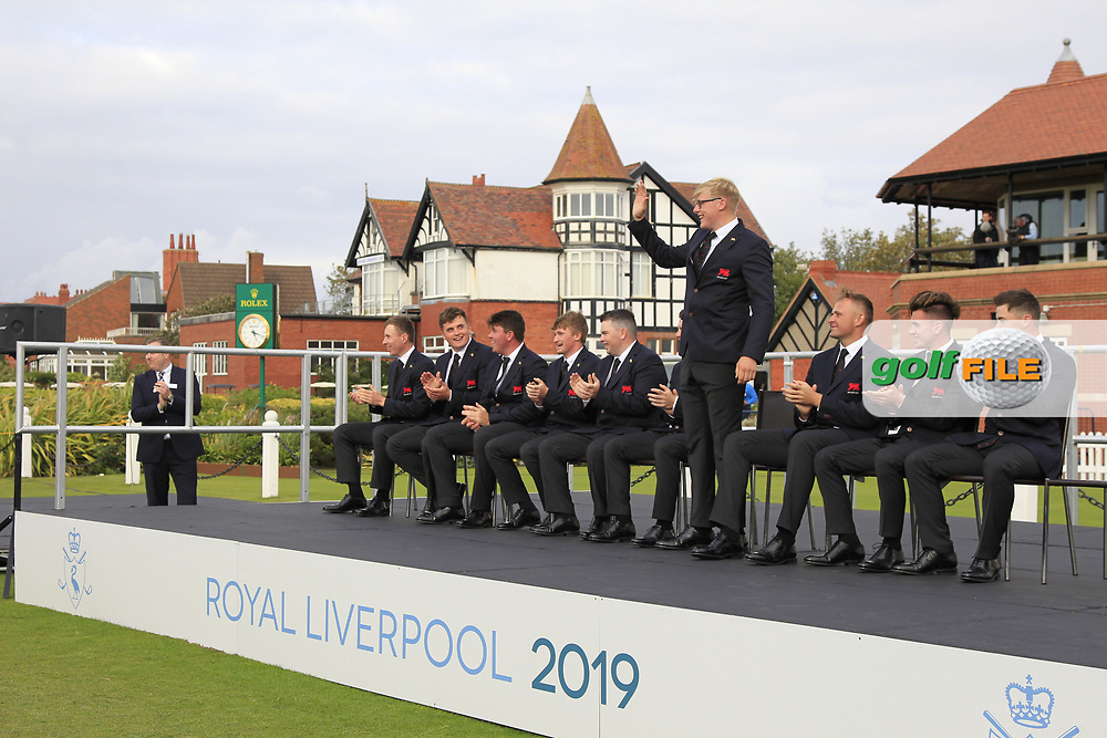 Thomas Plumb (GB&I) being introduced during the Official Opening of the Walker Cup, Royal Liverpool Golf CLub, Hoylake, Cheshire, England. 06/09/2019.<br /> Picture Thos Caffrey / Golffile.ie<br /> <br /> All photo usage must carry mandatory copyright credit (© Golffile | Thos Caffrey)