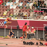 TOKYO, JAPAN August 1:   Yulimar Rojas of Venezuela  reacts after breaking the world record with a leap of 15.67m during her gold medal performance in the Women's Triple Jump Final at the Olympic Stadium at the Tokyo 2020 Summer Olympic Games on August 1st, 2021 in Tokyo, Japan. (Photo by Tim Clayton/Corbis via Getty Images)