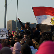 A young egyptian addresses a crowd during protests against the interim government in Tahrir Square, central Cairo.