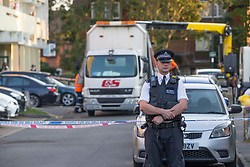 ©️ Licensed to London News Pictures. 13/09/2020. Enfield, UK. A murder investigation is underway following a fatal stabbing in Enfield. Police and London Ambulance Service were called to Holbrook Close, EN1 at around 00:40hrs on Sunday, 13 September to reports of a man collapsed. Despite the efforts of emergency services the man, aged 26, was pronounced dead at the scene. His next of kin are aware; formal identification awaits. A 43-year-old man was arrested nearby on suspicion of murder – he remains in custody. Photo credit: Marcin Nowak/LNP