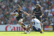 USA Blaine Scully running with the ball during the Rugby World Cup 2015 match between Samoa and USA at the Brighton Community Stadium, Falmer, United Kingdom on 20 September 2015.