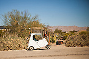 solar vehicle drives in the Slab City commune camp Niland, California