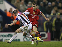 Photo: Rich Eaton.<br /> <br /> West Bromwich Albion v Cardiff City. Coca Cola Championship. 20/02/2007. Paul Parry right of Cardiff tries to get past West Broms Paul Robinson left