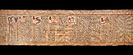 Ancient Egyptian Book of the Dead papyrus - From  tomb of Kha, Theban Tomb 8 , mid-18th dynasty (1550 to 1292 BC), Turin Egyptian Museum. Black background .<br /> <br /> If you prefer to buy from our ALAMY PHOTO LIBRARY  Collection visit : https://www.alamy.com/portfolio/paul-williams-funkystock/ancient-egyptian-art-artefacts.html  . Type -   Turin   - into the LOWER SEARCH WITHIN GALLERY box. Refine search by adding background colour, subject etc<br /> <br /> Visit our ANCIENT WORLD PHOTO COLLECTIONS for more photos to download or buy as wall art prints https://funkystock.photoshelter.com/gallery-collection/Ancient-World-Art-Antiquities-Historic-Sites-Pictures-Images-of/C00006u26yqSkDOM