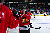 KELOWNA, BC - FEBRUARY 8: Robbie Fromm-Delorme #11 of the Portland Winterhawks celebrates a second period goal against the Kelowna Rockets at Prospera Place on February 8, 2020 in Kelowna, Canada. (Photo by Marissa Baecker/Shoot the Breeze)