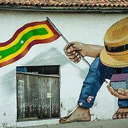 Whimsical graffiti in the Old City, Cuidad Vieja, Cartagena, Colombia.