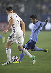August 12, 2017 - Carson, California, U.S - David Villa #7 of the New York FC with the kicks the ball during their MLS game with the Los Angeles Galaxy on Saturday August 12, 2017 at StubHub Center in Carson, California. LA Galaxy loses to New York FC, 2-0. (Credit Image: © Prensa Internacional via ZUMA Wire)