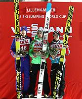 Ski , Fis  Ski Jumping World Cup <br /> Presented by Viessmann , Large  Hill Individual<br /> Lillehammer , Norway<br /> 10.12.2016<br /> Foto: Dagfinn Limoseth , Digitalsport<br /> Daniel André Tande , NOR , Domen Prevc , SLO , Stefan Kraft , AUT