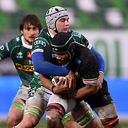 Treviso 02/01/2021 Stadio Monigo<br /> Guinness PRO14 <br /> Benetton Treviso vs Zebre <br /> <br /> Maxime Mbanda' placcato da Manuel Zuliani