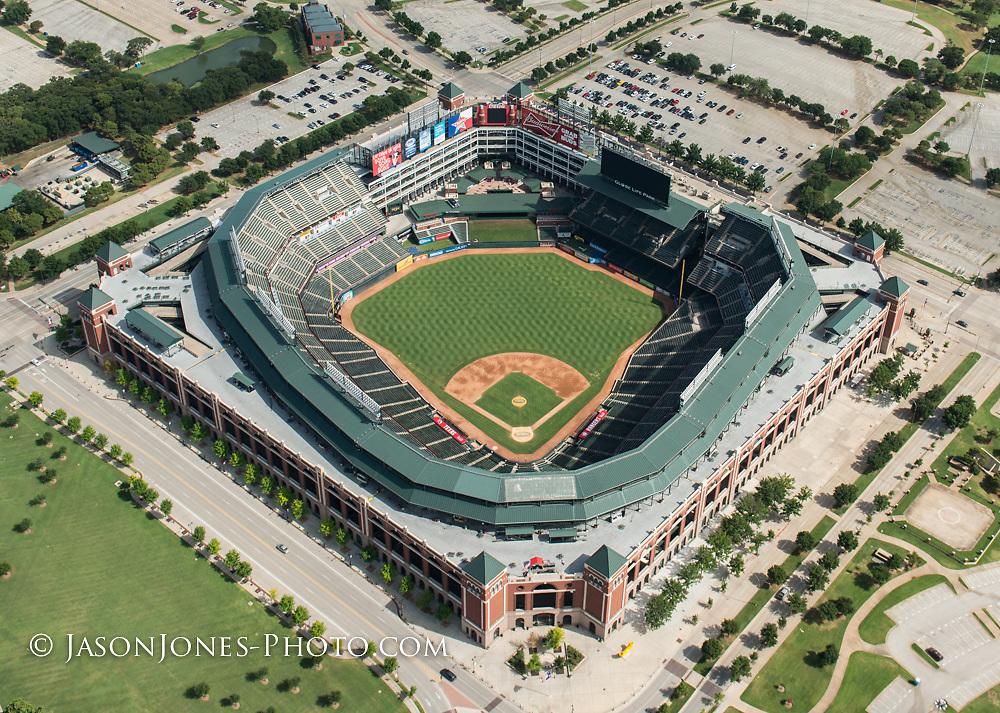 Aerial photography of professional baseball stadium and surrounding property