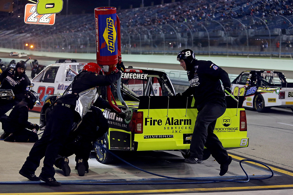 Nov 18, 2016; Homestead, FL, USA; NASCAR Camping World Truck Series driver John Hunter Nemechek (8) makes a pit stop during the Ford Ecoboost 200 at Homestead-Miami Speedway. Mandatory Credit: Peter Casey-USA TODAY Sports