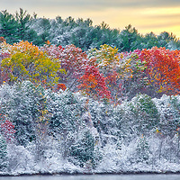 Snow foliage at the along the banks of the Wachusett Reservoir in West Boylston of Central Massachusetts. <br />