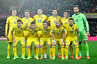 CLUJ-NAPOCA, ROMANIA, MARCH 26: Romania's national soccer players (top, L-R) Vlad Chiriches, Mihai Pintilii, Cristian Sapunaru , Alin Tosca, Claudiu Keseru, Ciprian Tatarusanu, (bottom L-R) Romario Benzar, Razvan Marin, Alexandru Chipciu, Iasmin Latovlevici, Nicolae Stanciu, pose before the 2018 FIFA World Cup qualifier soccer game between Romania and Denmark, on March 26, at Cluj Arena Stadium, in Cluj-Napoca, Romania. (Photo by Mircea Rosca/Getty Images)