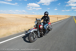Cris Sommer Simmons riding her 1934 Harley-Davidson VD during Stage 14 - (284 miles) of the Motorcycle Cannonball Cross-Country Endurance Run, which on this day ran from Meridian to Lewiston, Idaho, USA. Friday, September 19, 2014.  Photography ©2014 Michael Lichter.