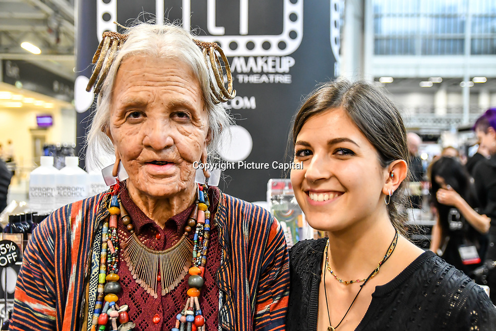 Camilla Cavenaghi will be re-creating  the make-up of an old woman of the Konyak tribe, the model is only 25 years old demo at IMATS London on 18 May 2019,  London, UK.