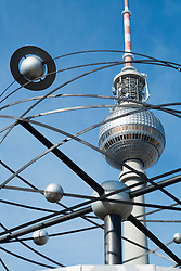 View of Television Tower through world clock at Alexanderplatz in Berlin Germany
