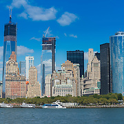 Lower Manhattan skyline with Battery park and Financial district skyscrapers
