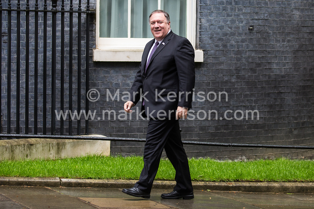 London, UK. 8 May, 2019. US Secretary of State Mike Pompeo arrives in Downing Street for a meeting with Prime Minister Theresa May, to be followed by a meeting at the Foreign Office with Foreign Secretary Jeremy Hunt.