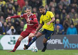 Anis Slimane (Brøndby IF) presses af Kasper Enghardt (Lyngby BK) under kampen i 3F Superligaen mellem Brøndby IF og Lyngby Boldklub den 1. marts 2020 på Brøndby Stadion (Foto: Claus Birch).