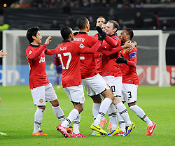 27.11.2013, BayArena, Leverkusen, GER, UEFA CL, Bayer Leverkusen vs Manchester United, Gruppe A, im Bild V l n r Shinji Kagawa, Nani, Chris Smalling, Wayne Rooney, Patrice Evra ( alle Manchester United / Emotion ) jubeln nach dem Eigentor zum 2 : 0 // during UEFA Champions League group A match between Bayer Leverkusen vs Manchester United at the BayArena in Leverkusen, Germany on 2013/11/27. EXPA Pictures © 2013, PhotoCredit: EXPA/ Eibner-Pressefoto/ Thienel<br /> <br /> *****ATTENTION - OUT of GER*****