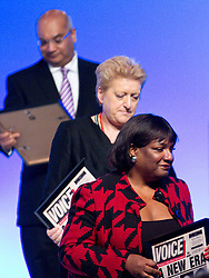 © Licensed to London News Pictures. 30/09/2012. Manchester, UK . L-R Keith Vaz , Bernie Grant's widow Sharon Grant and Diane Abbott collecting an award . Labour Party Conference Day 1 at Manchester Central . Photo credit : Joel Goodman/LNP