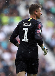 Back of Preston North End goalkeeper Declan Rudd with the Mind Charity branding