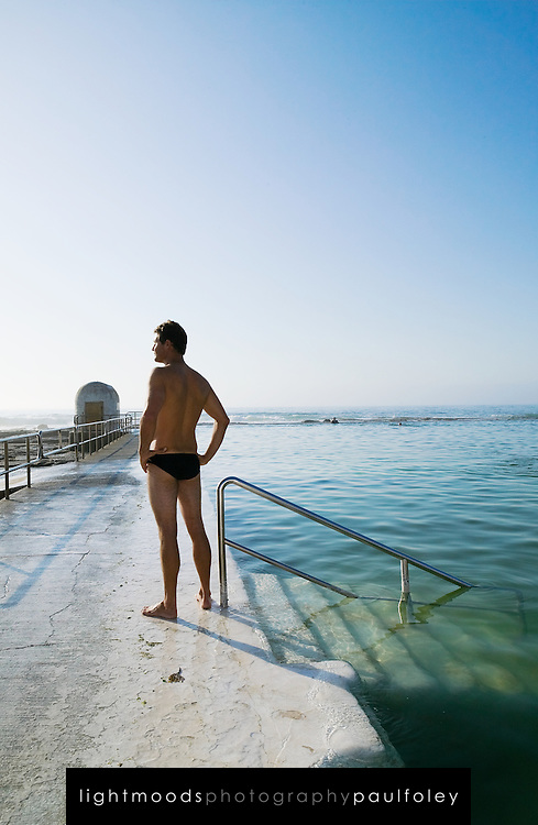 Lifesaver (Lifeguard) at Merewether Ocean Baths (Pool), Newcastle, East Coast Australia.