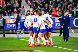 Romain Ntamack (FRA) celebrate his try with the rest of the team during the Six Nations rugby union tournament match between France and Italy at the stade de France, in Saint Denis, on February 9, 2020. Photo by Julien Poupart/ABACAPRESS.COM