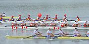 Chungju, South Korea.  Final Women's Eights, ITA W8+2013 FISA World Rowing Championships, Tangeum Lake International Regatta Course.15:54:11  Sunday  01/09/2013 [Mandatory Credit. Peter Spurrier/Intersport Images]<br /> <br /> 1USA W8+. Bow. Amanda POLK (b) , Kerry SIMMONDS (2) , Emily REGAN (3) , Lauren SCHMETTERLING (4) , Grace LUCZAK (5) , Meghan MUSNICKI (6) , Victoria OPITZ (7) , Caroline LIND (s) , Katelin SNYDER<br /> <br /> 2ROU W8+. Bow. Cristina ILIE (b) , Ionelia ZAHARIA (2) , Cristina GRIGORAS (3) , Ioana CRACIUN (4) , Camelia LUPASCU (5) , Andreea BOGHIAN (6) , Roxana COGIANU (7) , Nicoleta ALBU (s) , Daniela DRUNCEA.<br /> <br /> 3CANW8+. Bow. Lisa ROMAN (b) , Jennifer MARTINS (2) , Carolyn GANES (3) , Susanne GRAINGER (4) , Sarah BLACK (5) , Christine ROPER (6) , Natalie MASTRACCI (7) , Cristy NURSE (s) , Kristen KIT.<br /> <br /> 4.     GBRW8+. Melanie WILSON (b) , Caragh MCMURTRY (2) , Louisa REEVE (3) , Beth RODFORD (4) , Jessica EDDIE (5) , Zoe LEE (6) , Katie GREVES (7) , Olivia CARNEGIE-BROWN (s) , Zoe DE TOLEDO. <br /> <br /> 5AUSW8+. Bow. Hannah VERMEERSCH (b) , Renee CHATTERTON (2) , Peta WHITE (3) , Katrina BATEMAN (4) , Tess GERRAND (5) , Alexandra HAGAN (6) , Charlotte SUTHERLAND (7) , Lucy STEPHAN (s) , Elizabeth PATRICK.<br /> <br /> 6NED W8+. Bow. Marleen VERBURGH (b) , Kyra DE VRIES (2) , Aletta JORRITSMA (3) , Janneke VAN DER MEULEN (4) , Kirsten WIELAARD (5) , Dominique Van der PAUW (6) , Rosa BAS (7) , Heleen BOERS (s) , Jonna DE VRIES (c)